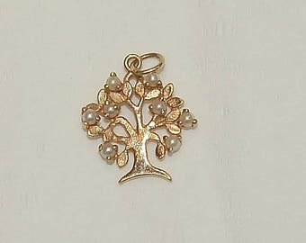 TREE of LIFE Pendant with eight pearls vintage 14kt gold