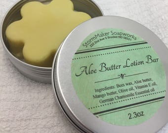 All Natural Lotion, Aloe Butter Solid Lotion Bar, Moisturizing, Soothing