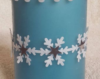 Decorative Blue Pillar Candle with Pearls and Snowflakes