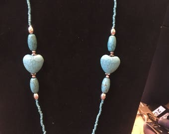 Turquoise heart beaded necklace and earrings set