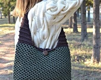 a large bag made of knitting yarn