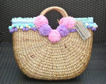 Water Hyacinth Bag with Pastel pom pom ,Water Hyacinth woven Bag with Pastel pom pom , Straw bag