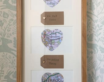 Wedding Frame/Wedding Gift/Personalised Frame/Anniversary Gift/Personalised Gift/Birthday Gift/Map Frame