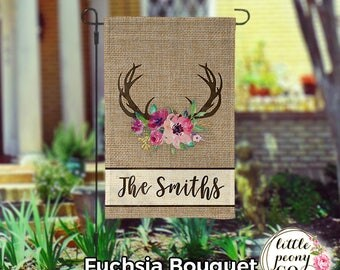 Personalized Garden Flag - Antler and Floral Bouquet Burlap Custom Yard Flag