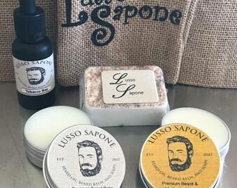 Hand Crafted Beard Kit - Beard Oil, Beard & Mustache Wax, Soap, Beard Balm