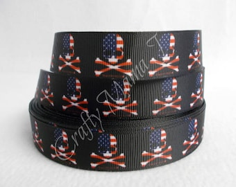 "American Flag Skulls Printed 7/8"" Grosgrain Ribbon by the yard. Choose between 3/5/10 yards. USA Red, white and blue."