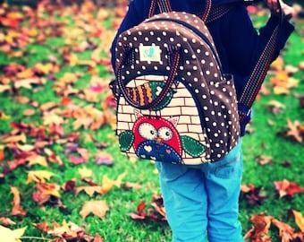 Handmade Kids daycare/ kindy backpack - BROWN
