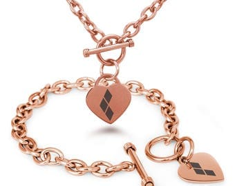 Free Shipping Charm Bracelet & Necklace Stainless Steel rose gold color Harley Quinn Logo Heart Tag
