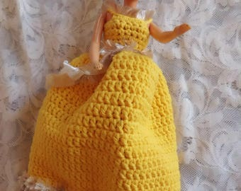 princess dress for barbie doll in golden yellow wool