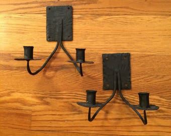 Pair Wrought-Iron Candle Wall Sconces