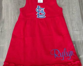 Girls Red Tank Top Dress with Ruffles and embroidered St. Louis Cardinals