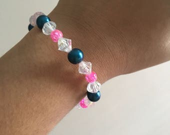 Blue and Pink Beaded Wire Bracelet