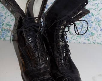 Antique Black Leather lace up Granny Boots