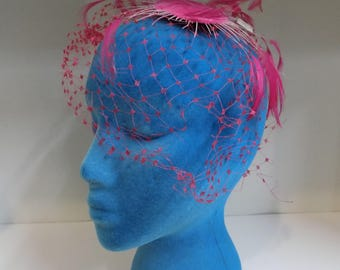 Vintage 1950's Pink Feather and Net Fascinator