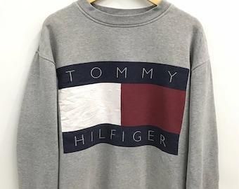 Vintage 90s Tommy Hilfiger Sweatshirt..Spellout Big Logo..Sailing Gear..Size XL