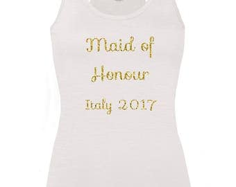 Personalised Maid Of Honour Hen Party vest