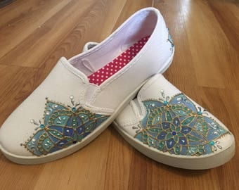 Shoes/ Sneakers/ Girls Shoes/ woman Shoes/ Mandala Hand Painted Shoes