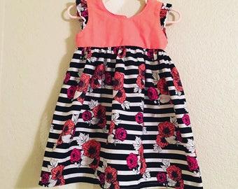 Floral and Stripe Flutter Sleeve Dress