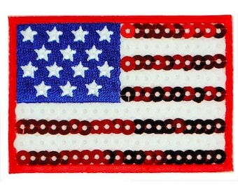 Expo Iron-On Embroidered Sequin Applique Flag