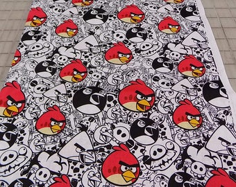 Angry Birds Fabric, Rovio Entertainment, David Textiles, License fabric, Birds, Black, White, Red, Quilting, Cotton, Woven, Fabric by Yard