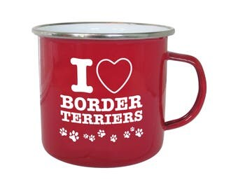"""Enamel mug in red with """"I Love Border Terriers"""" design"""