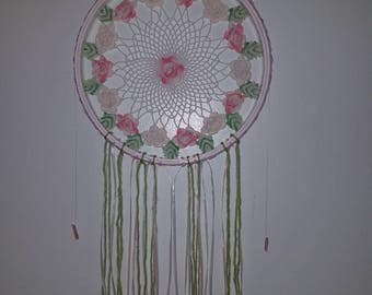 Dream catcher doily pink flowers and crystals