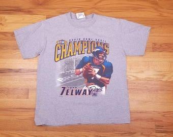 Vintage 90s Denver Broncos John Elway Super Bowl Champions Champs size Medium M