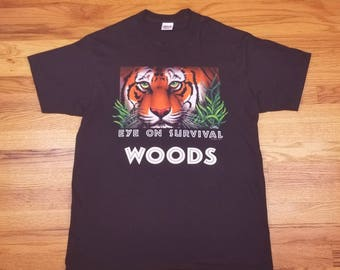 Vintage 90s Tiger Rainforest Eyes on Survival Woods Forest T Shirt size Large