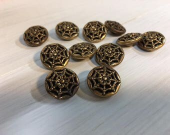 Vintage Silver Filigree Twinkle Buttons 11 Gold Metal Spider Web Mirror Back Buttons