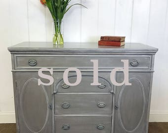 Buffet, Credenza, Console, Weathered Gray, Cottage Style, Shabby Farmhouse Chic