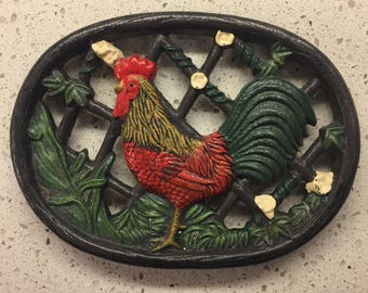 Vintage wrought iron rooster trivet