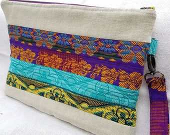 Large size African fabric clutch/wristlet with quilted detail