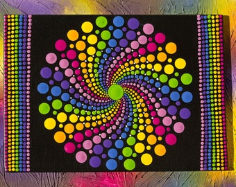 "Original hand painted Dot Art,Dot Painting ""Rainbow Spin Spots"" colourful wall art  #36. Free Shipping"