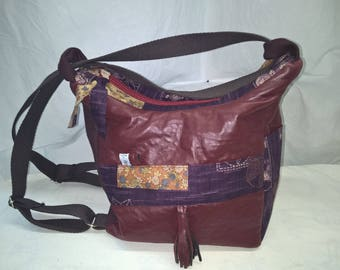 2 in 1 bag hand/backpack, faux leather, cotton patchwork fabric