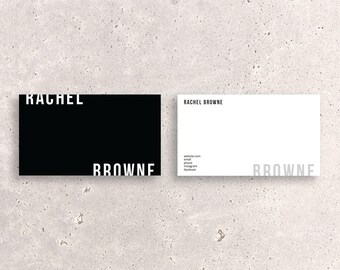 Modern Double-Sided Business Card Template - Two-tone horizontal custom digital creative design file