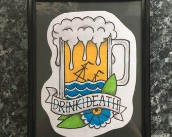 Custom handmade design beer glass framed 7x5 inch backed on black card