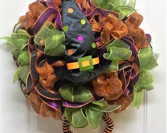 Mesh Halloween Witch Wreath