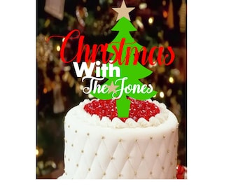 Christmas party, christmas cake topper, holiday party, last name personalized party, merry christmas cake topper