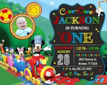 Mickey Mouse Choo Choo Express Invitation, Mickey Choo Choo Express Birthday, Mickey Mouse Clubhouse Invitation , Mickey Mouse Invitation