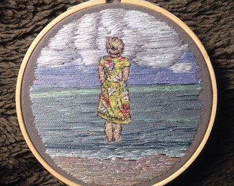 Vintage Girl Embroidered Thread Painting