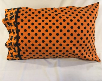 Halloween Pillow Case in Black Cat Polka Dots - flannel