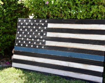 Thin Blue Line American Flag - wall art