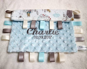 PERSONALISED Baby Boy Peter Rabbit taggie style comforter taggy