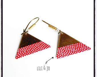 Ethiopian collection: large red triangles with white polka dots Stud Earrings