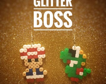 Toad and Yoshi pixel earrings