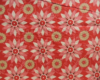 Fabric Patch cotton Kaufman red flower pattern