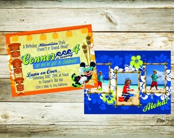 Mickey Luau Birthday Invitation