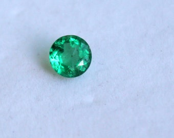 1.25ct Natural Zambian Emerald 6.8 MM Round Faceted Top Quality-Emerald 6.8 mm Round  Faceted