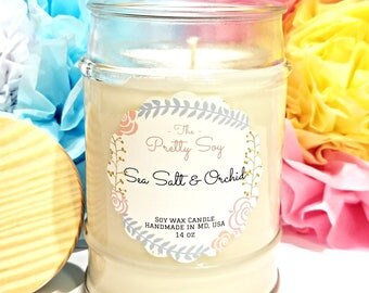Spa candle, SEA SALT & ORCHID , 100% natural soy wax, aromatherapy candle, gift for wife, gift for her