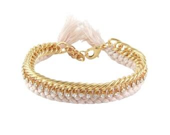 Crochet Bracelet with Yellow Gold Chain and Rhinestones - Friendship Bracelet - Stackable Crochet Bracelet
